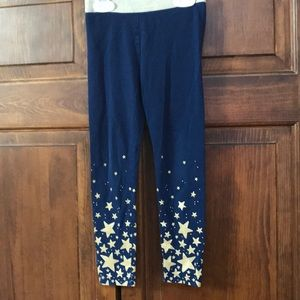 Blue and gold sparkle leggings , girls size 5